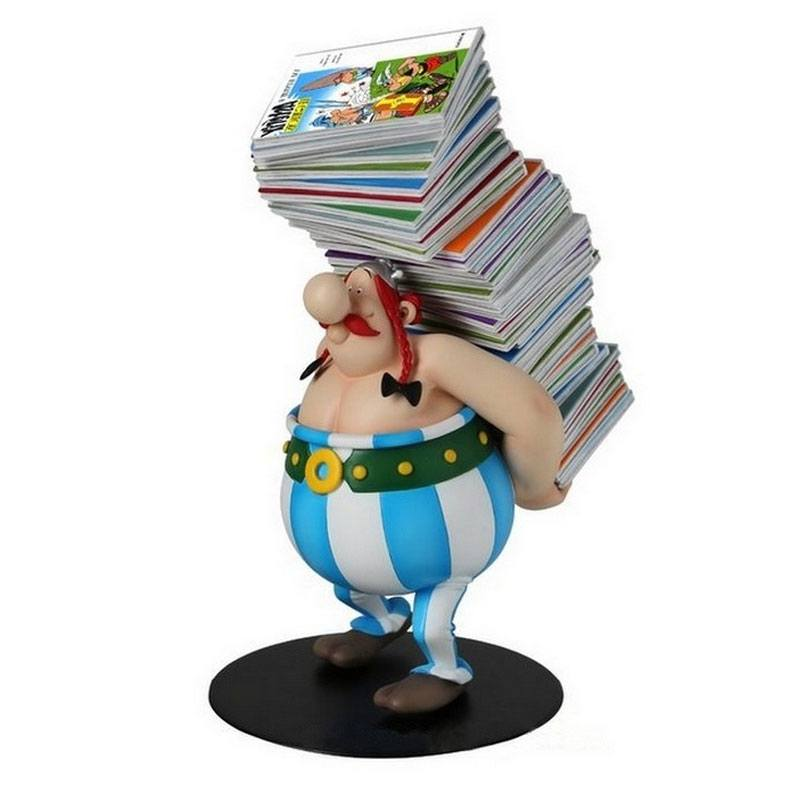 Photo du produit ASTERIX STATUETTE COLLECTOYS OBELIX PILE D'ALBUMS 21 CM