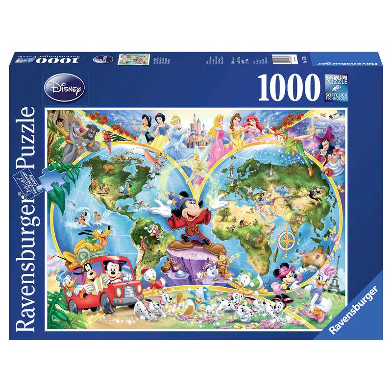 Photo du produit PUZZLE MAP MONDE DISNEY 1000 PIÈCES