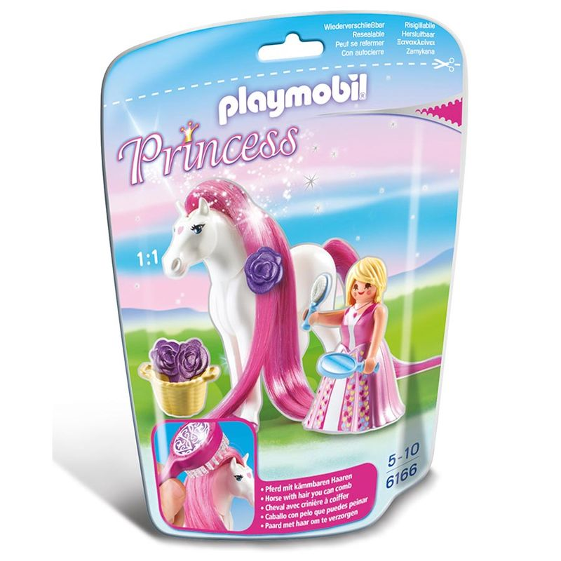 Photo du produit PLAYMOBIL 6166 PRINCESSE ROSE AVEC CHEVAL A COIFFER