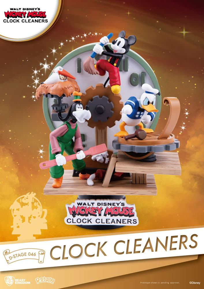 Photo du produit DISNEY MICKEY MOUSE DIORAMA PVC D-STAGE CLOCK CLEANERS 15 CM