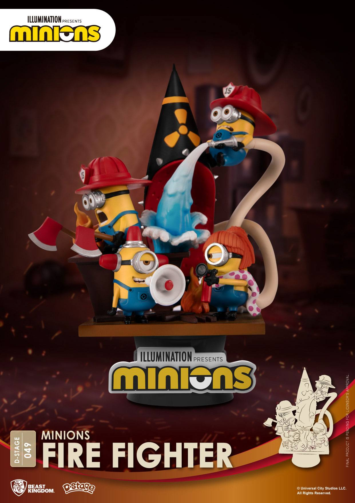 Photo du produit MINIONS DIORAMA PVC D-STAGE FIRE FIGHTER 15 CM
