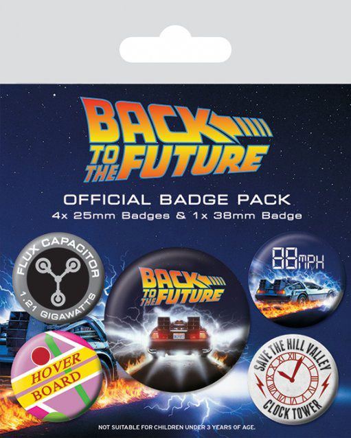 Photo du produit RETOUR VERS LE FUTUR PACK 5 BADGES DELOREAN