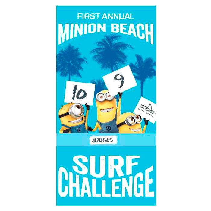 Photo du produit SERVIETTE DE BAIN MINIONS SURF CHALLENGE EN MICROFIBRE