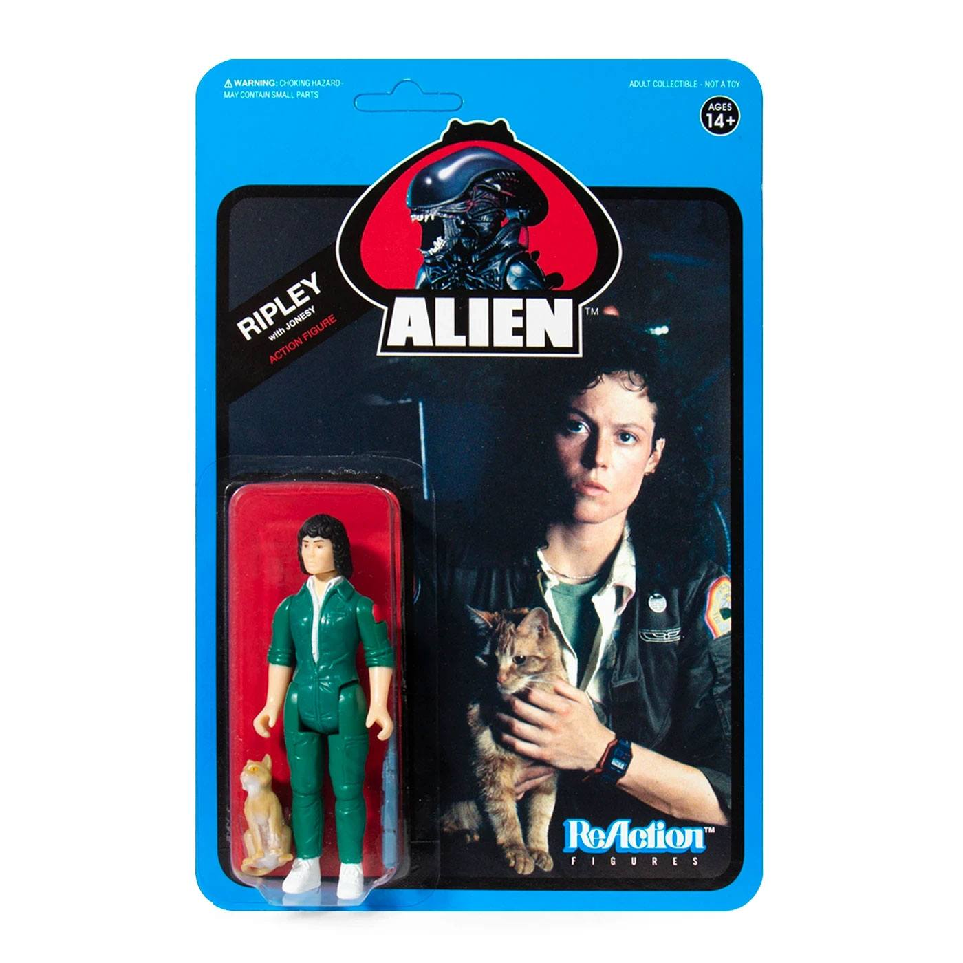 Photo du produit ALIENS WAVE 3 FIGURINE REACTION RIPLEY WITH JONESY (BLUE CARD) 10 CM - SUPER