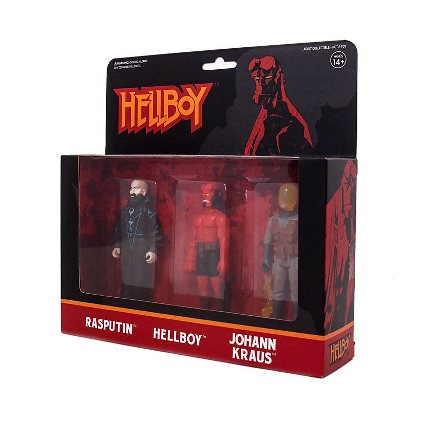 Photo du produit HELLBOY REACTION PACK 3 FIGURINES PACK B HELLBOY W/O HORNS, RASPUTIN, JOHANN KRAUS