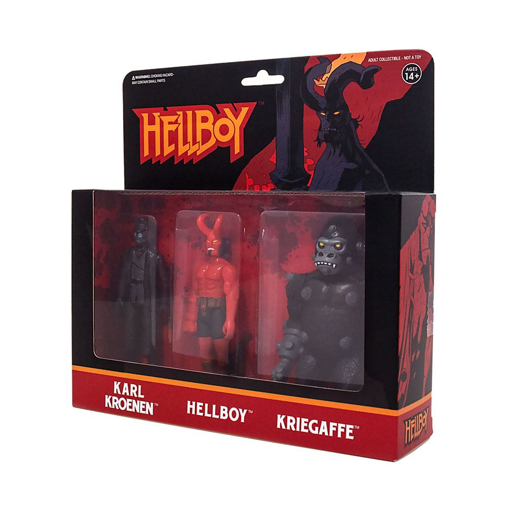 Photo du produit HELLBOY REACTION PACK 3 FIGURINES PACK A HELLBOY W/HORNS, KARL KROENEN, KRIEGAFFE APE