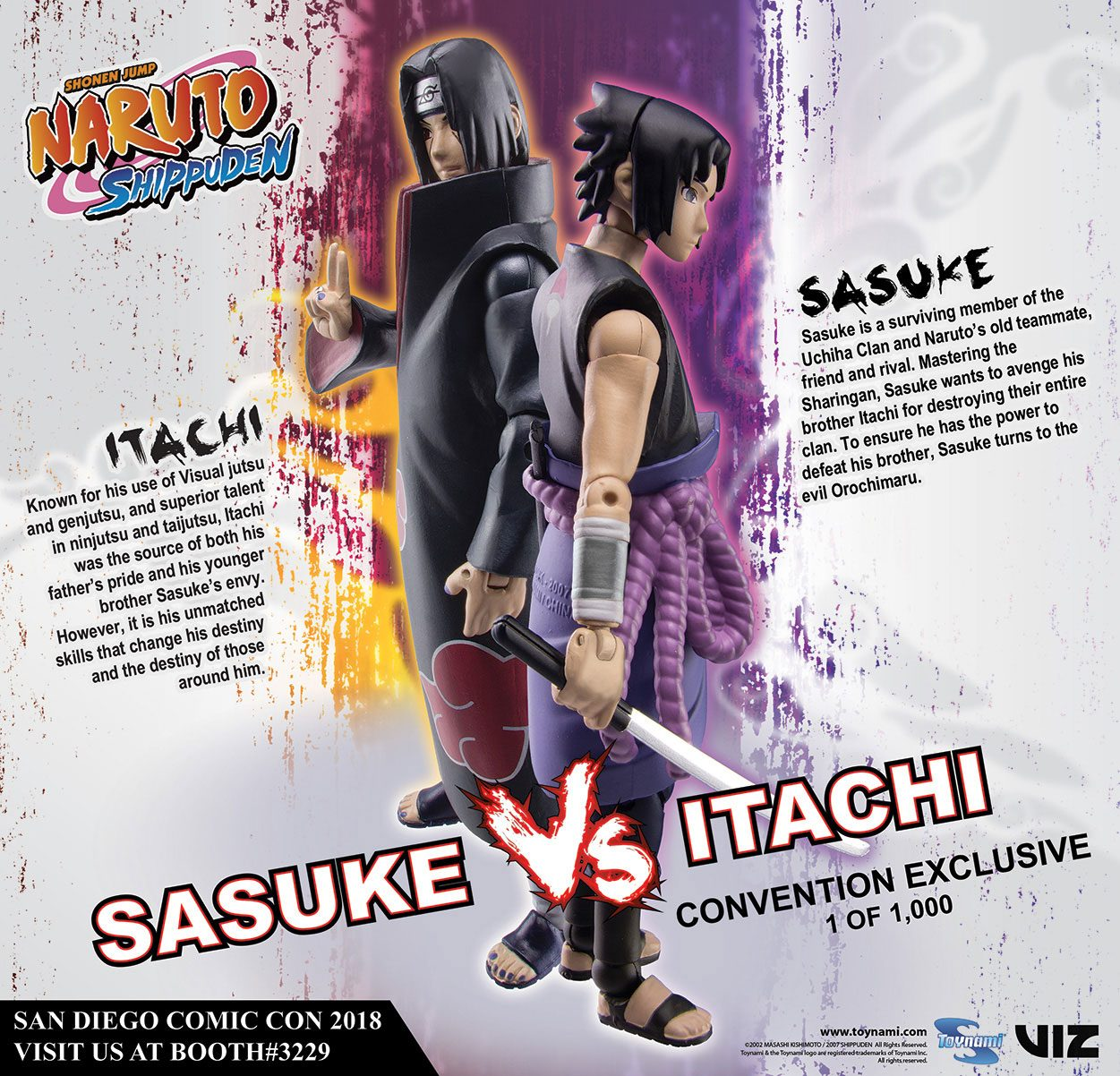 Photo du produit NARUTO SHIPPUDEN PACK 2 FIGURINES SASUKE VS. ITACHI 2018 SDCC EXCLUSIVE 10 CM