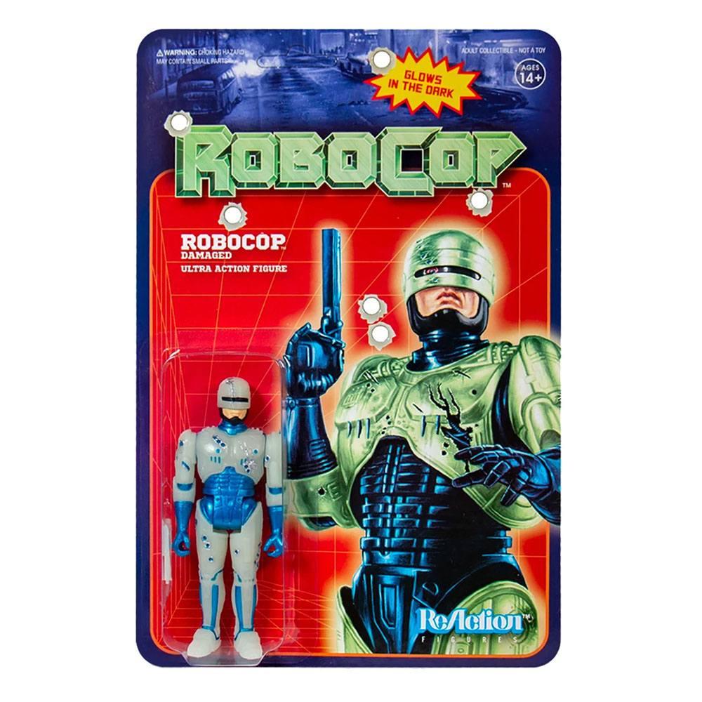 Photo du produit ROBOCOP FIGURINE SUPER7 REACTION ROBOCOP BATTLE DAMAGED (GLOW IN THE DARK) 10 CM