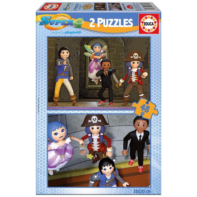 Photo du produit PUZZLES PLAYMOBIL SUPER 4  DE 2 X 48 PIECES