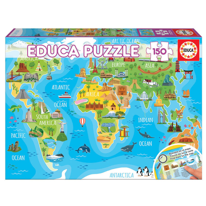 Photo du produit PUZZLE MAP MONDE ET MONUMENTS 150 PIÈCES