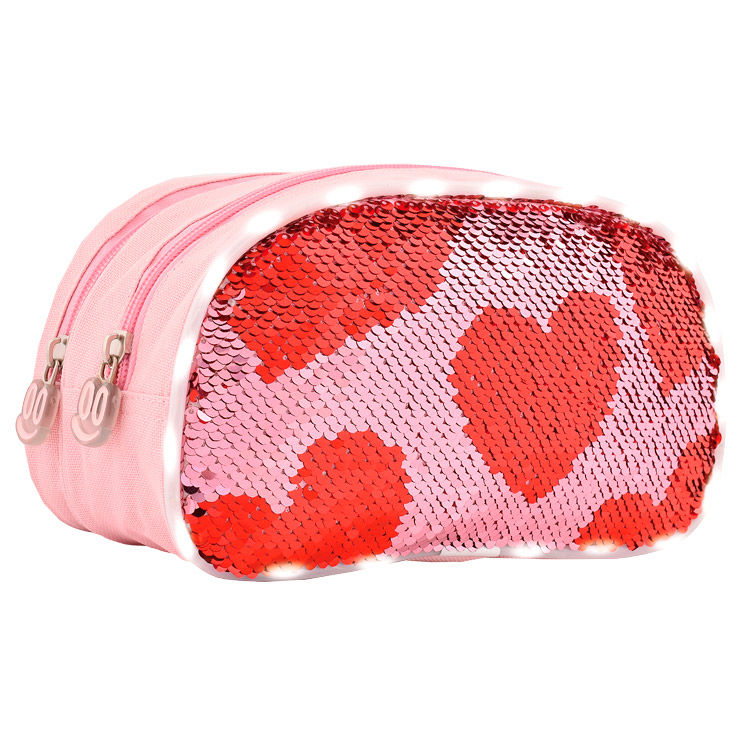 Photo du produit TROUSSE DOUBLE LED ET PAILLETTES COEUR ROUGE