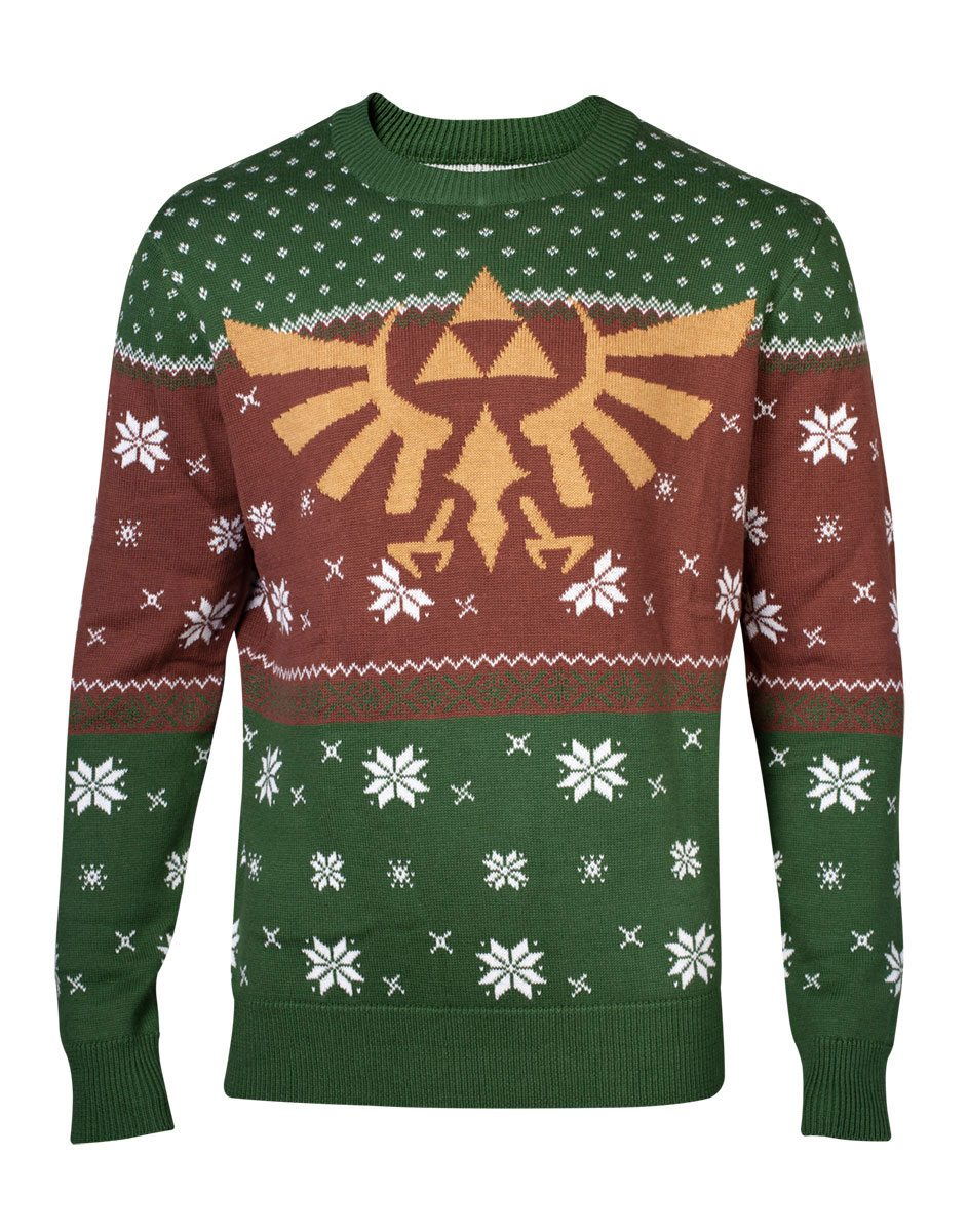 Photo du produit THE LEGEND OF ZELDA SWEATER CHRISTMAS GOLDEN LOGO RED & GREEN