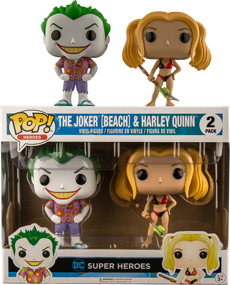 Photo du produit DC COMICS PACK 2 FUNKO POP  JOKER BEACH  & HARLEY QUINNE
