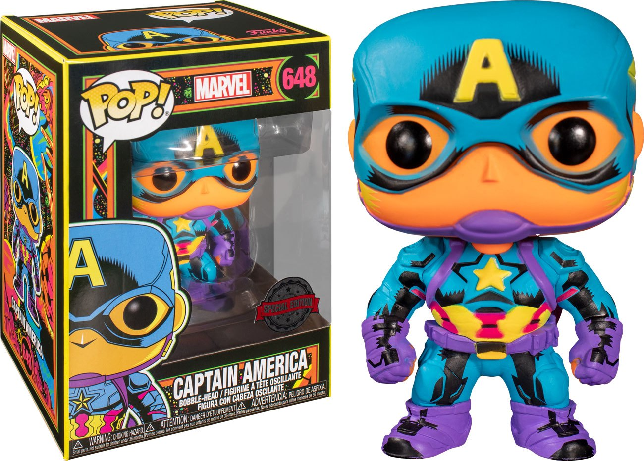 Photo du produit FUNKO POP! MARVEL BLACK LIGHT CAPTAIN AMERICA EXCLUSIVE