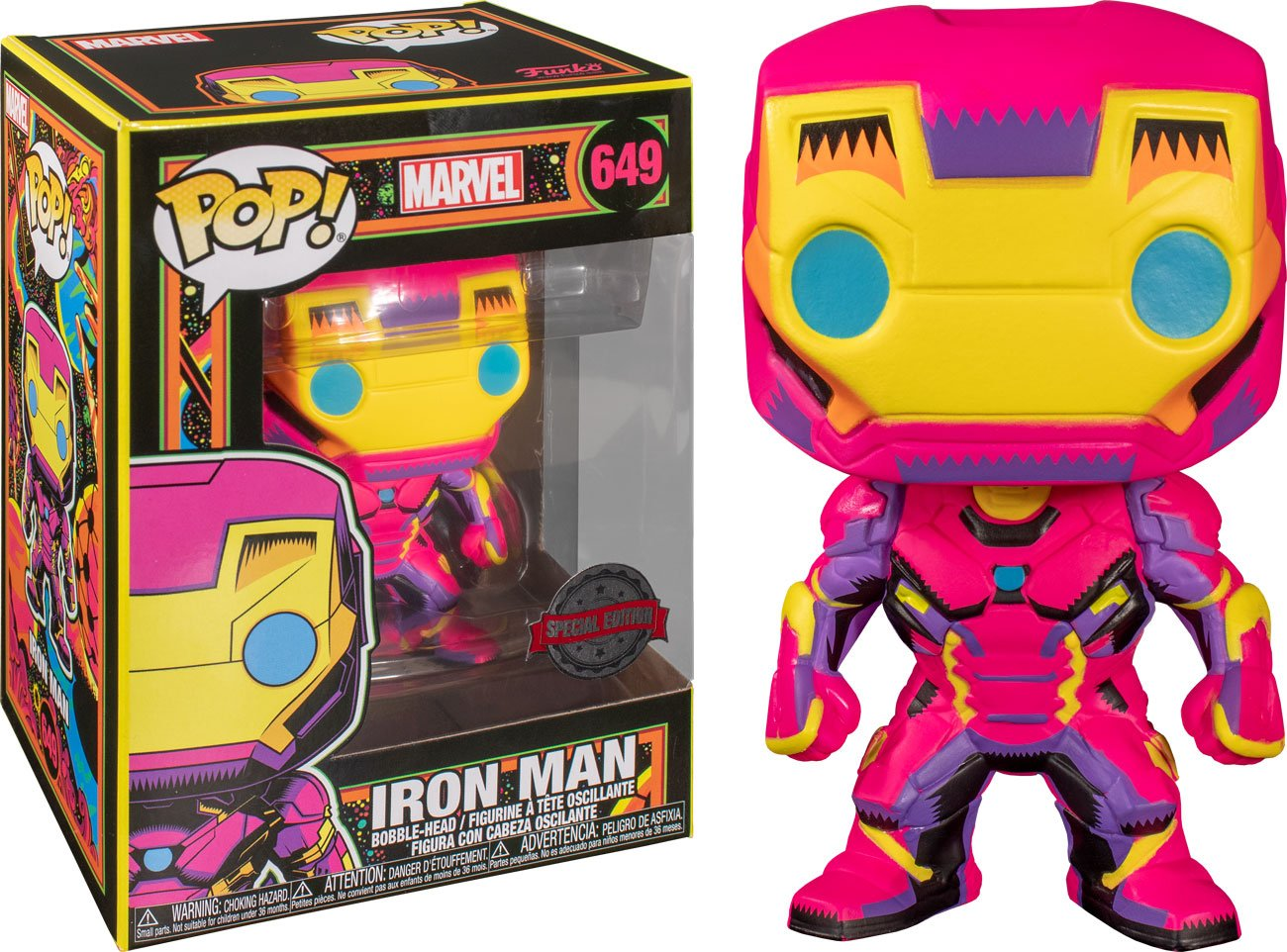 Photo du produit FUNKO POP! MARVEL BLACK LIGHT IRON MAN EXCLUSIVE
