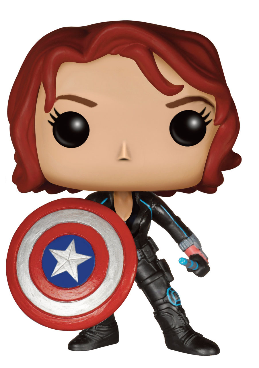 Photo du produit AVENGERS L'ERE D'ULTRON FIGURINE POP! MARVEL BLACK WIDOW WITH CAP'S SHIELD