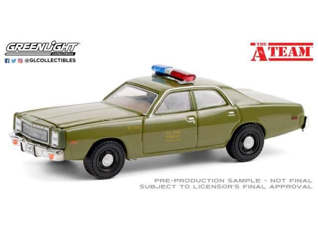 Photo du produit A-TEAM 1977 PLYMOUTH FURY U.S. ARMY POLICE 1/64 MÉTAL
