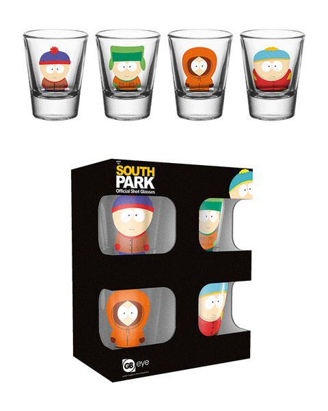 south park set 4 verres a liqueur. Black Bedroom Furniture Sets. Home Design Ideas