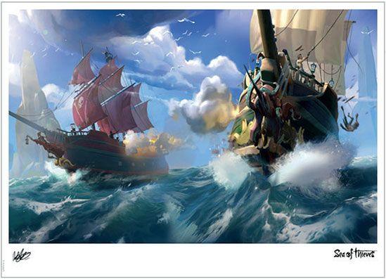 Photo du produit LITHOGRAPHIE SEA OF THIEVES OPEN SEA 42 X 30 CM