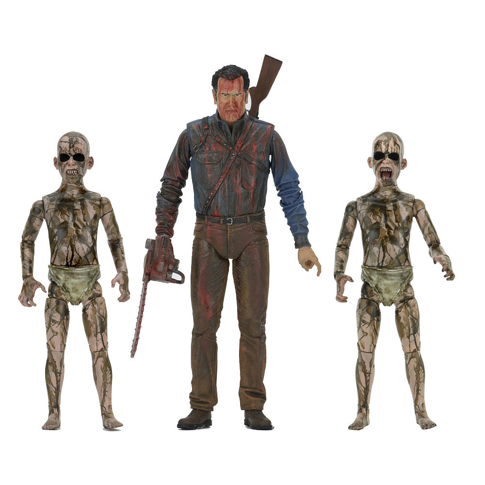 Photo du produit ASH VS EVIL DEAD SERIE 1 3 PACK BLOODY ASH VS DEMON SPAWN 18CM FIGURE