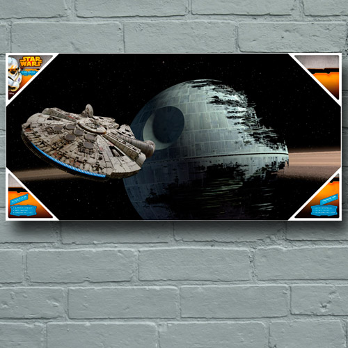 Photo du produit POSTER EN VERRE STAR WARS MILLENIUM VERSUS DEATH STAR