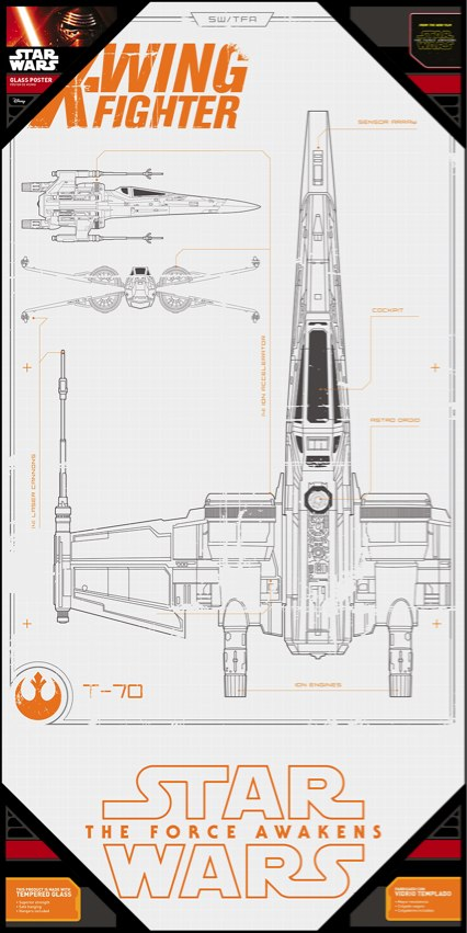 Photo du produit POSTER EN VERRE STAR WARS EPISODE 7 50X25CM X-WING BLUEPRINT