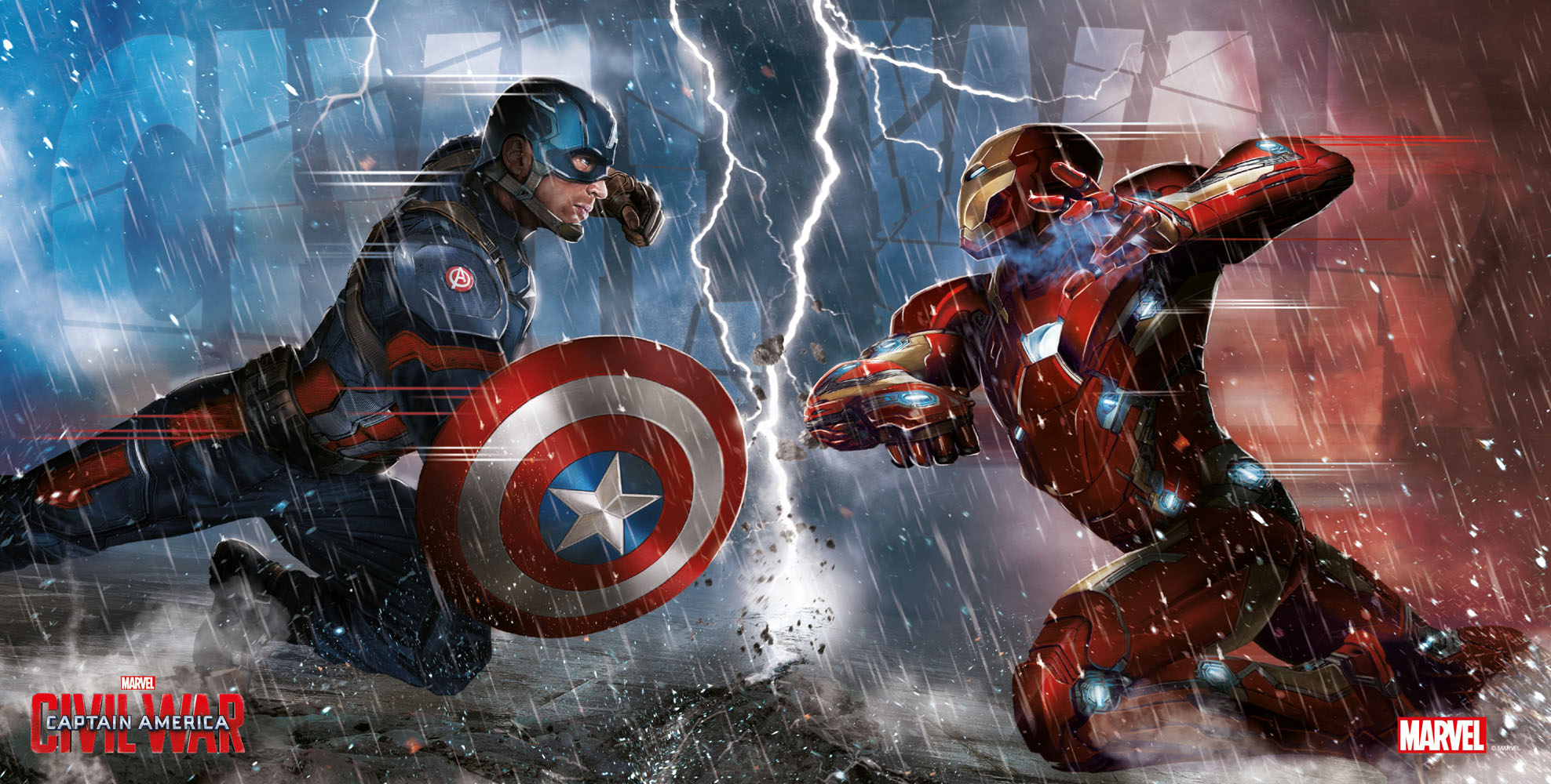 Photo du produit CAPTAIN AMERICA CIVIL WAR POSTER EN VERRE DUEL