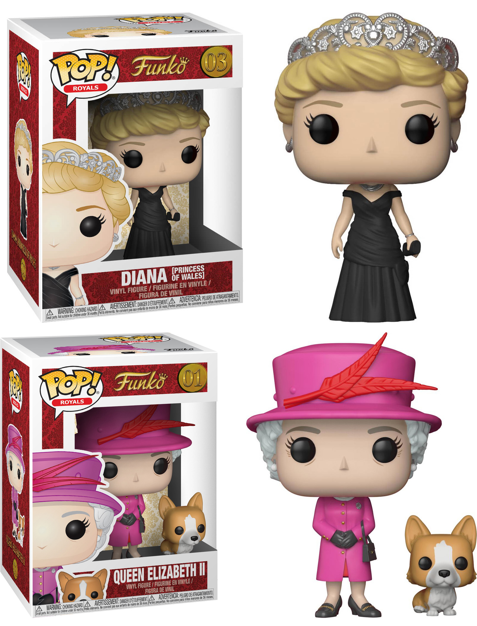 Photo du produit PACK 2 FUNKO POP FAMILLE ROYALE - LADY DIANA & REINE ELIZABETH II