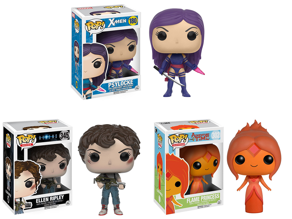 Photo du produit PACK 3 FUNKO POP PSYLOCKE - ELLEN RIPLEY - FLAME PRINCESS