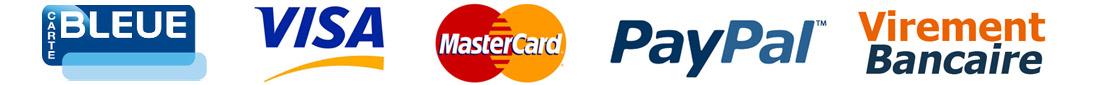 Paiements par carte bleue, paypal ou virement bancaire acceptés