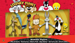 PACK 6 FIGURINES FLEXIBLES LOONEY TUNES 6 - 15 CM