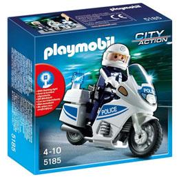 PLAYMOBIL CITY ACTION 5185 : MOTARD DE POLICE AVEC LUMIERE CLIGNOTANTE