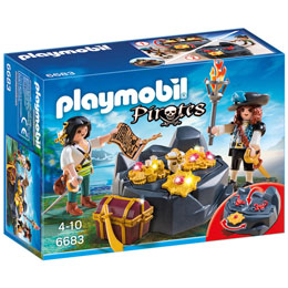 PLAYMOBIL 6683 PIRATES -TRESOR CACHETTE ILE CANON GOLD SABRE AU PIRATE