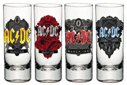 AC/DC SET 4 VERRES À LIQUEUR BLACK ICE