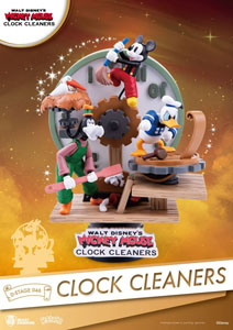 DISNEY MICKEY MOUSE DIORAMA PVC D-STAGE CLOCK CLEANERS 15 CM