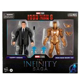 Coffret 2 figurines Happy Hogan and Iron Man Mark XXI Iron Man 3 The Infinity Saga Marvel 15cm