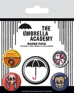 THE UMBRELLA ACADEMY PACK 5 BADGES SUPER