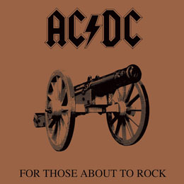 AC/DC TABLEAU TOILE ENCADRÉ FOR THOSE ABOUT TO ROCK 40 X 40 CM