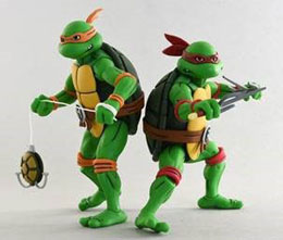 LES TORTUES NINJA PACK 2 FIGURINES MICHELANGELO & RAPHAEL / NECA