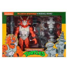 Les Tortues ninja pack 3 figurines Triceraton Infantryman & Roadkill Rodney 18 cm