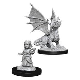 D&D Nolzur's Marvelous Miniatures miniatures à peindre Silver Dragon Wyrmling & Female Hal