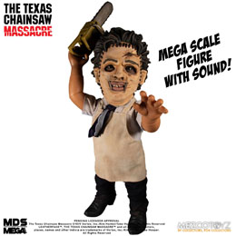 MASSACRE À LA TRONÇONNEUSE FIGURINE SONORE MEGA SCALE LEATHERFACE 38 CM