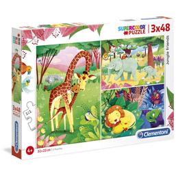 Puzzle Animaux de la Savane 3x48 pièces