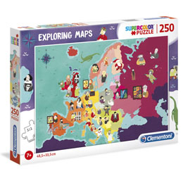 PUZZLE GREAT PEOPE IN EUROPE EXPLORING MAPS 250 PIÈCES