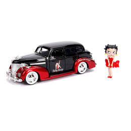 BETTY BOOP 1/24 HOLLYWOOD RIDES 1939 CHEVY MASTER DELUXE MÉTAL AVEC FIGURINE
