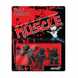 SUPER7 IRON MAIDEN PACK 3 FIGURINES MUSCLE (BLACK) 4 CM
