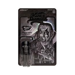KING DIAMOND FIGURINE SUPER7 REACTION BLACK-ON-BLACK METAL KING DIAMOND 10 CM