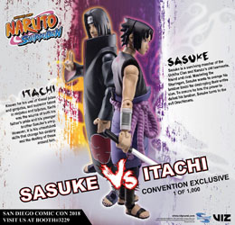 NARUTO SHIPPUDEN PACK 2 FIGURINES SASUKE VS. ITACHI 2018 SDCC EXCLUSIVE 10 CM