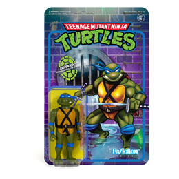 LES TORTUES NINJA FIGURINE SUPER7 REACTION LEONARDO 10 CM