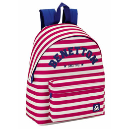 SAC A DOS BENETTON PINK STRIPES 40CM